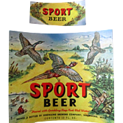 Sebewaing Brewing Co Sport Beer Bottle Label hunting scene-scarce 1940's-50's