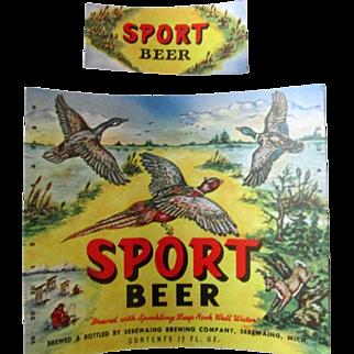 Sebewaing Brewing Co Sport Beer Bottle Label hunting scene-scarce 1940's-50's