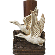 Geese Flying over marsh figural mid-century syroco brush holder circa 1940's