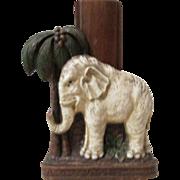 White Elephant with tree mid-century syroco brush holder circa 1940's