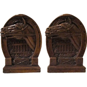 Horse and Horseshoe figural mid-century syroco book ends circa 1940's