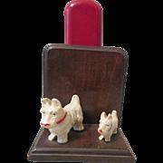 Scottie Dogs figural mid-century syroco brush holder circa 1940's
