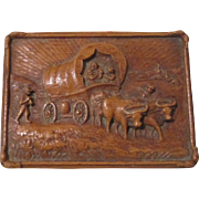 Covered Wagon scene figural mid-century syroco unused trinket circa 1940's