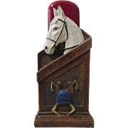 Race Horse in Stable figural mid-century syroco brush holder circa 1940's
