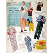 Stan Musial and son Dickie uncut magazine advertising paper dolls 1948