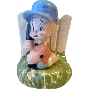 Shaw Pottery Porky Pig-Elmer Fudd Hunter figural planter near mint condition 1940's
