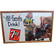 "7-UP ""The All Family Drink"" framed cardboard sign 1953"