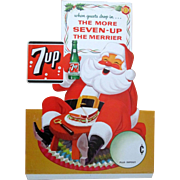 Christmas 7-UP Soda Santa Claus When Guests Drop In diecut sign 1964
