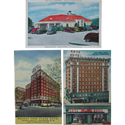 Vintage Automobiles with Hotels mint postcards 3 different circa 1930's