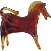 Viking Glass Mid Century Epic line Orange Persimmon Horse with label mint 1960's