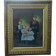 19th century Children in costume with toys hand colored large framed photograph