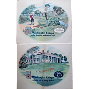 Scarce Washington Crisps Corn Flakes advertising signs circa 1910-20's
