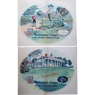 Scarce Washington Crisps Corn Flakes advertising signs circa 1910-20's