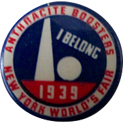 New York Worlds Fair 1939 I Belong Anthracite Booster scarce mint pin