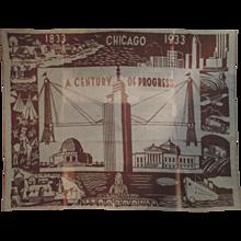 World's Fair Century Of Progress 1933 Scenic scarce wool blanket - Red Tag Sale Item