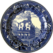 Wedgewood Historical Old State House Boston Flow Blue plate near mint