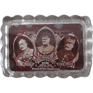 WWI General Pershing Paperweight Advertising Acme Furniture early 1900's