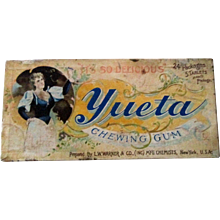 Chewing Gum Yueta store counter display box scarce circa 1880's