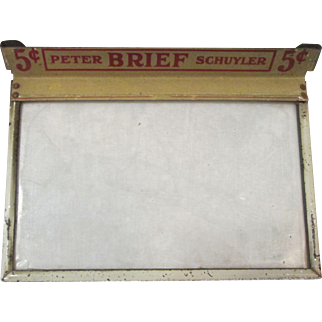 Cigar box Brief cigars Five Cent Peter Schuyler glass top cover early 1900's