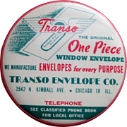 Advertising pocket mirror celluloid paperweight Transo Envelope Co 1940's-50's