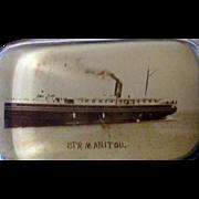 Ocean liner Steamer Manitou souvenir paperweight near mint 1900's