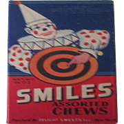 Smiles Assorted Chews Scarce Candy Box circa 1930-40's