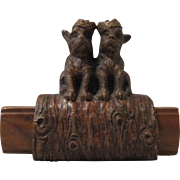 Scottie Dogs on log figural mid-century syroco brush holder circa 1940's