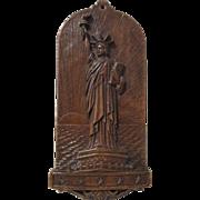 Statue Of Liberty scene figural mid-century syroco wall plaque circa 1940's