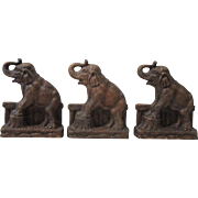 Standing Elephant figural mid-century syroco bookends lot of 3 circa 1940's