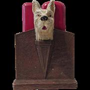 Scottie Dog figural mid-century syroco double brush holder circa 1940's