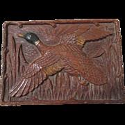 Canadian Goose scene figural mid-century syroco trinket box circa 1940's