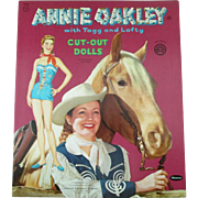 Vintage Annie Oakley TV Western star with Tagg and Lofty Paper Dolls mint uncut 1955