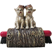 Scottie Dogs on log figural mid-century syroco red brush holder circa 1940's