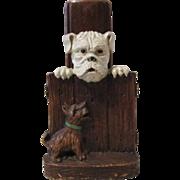 Scottie Dog & Bull Dog figural mid-century syroco brush holder circa 1940's