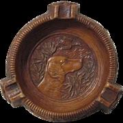 Hunting Dog scene figural mid-century syroco unused ashtray circa 1940's