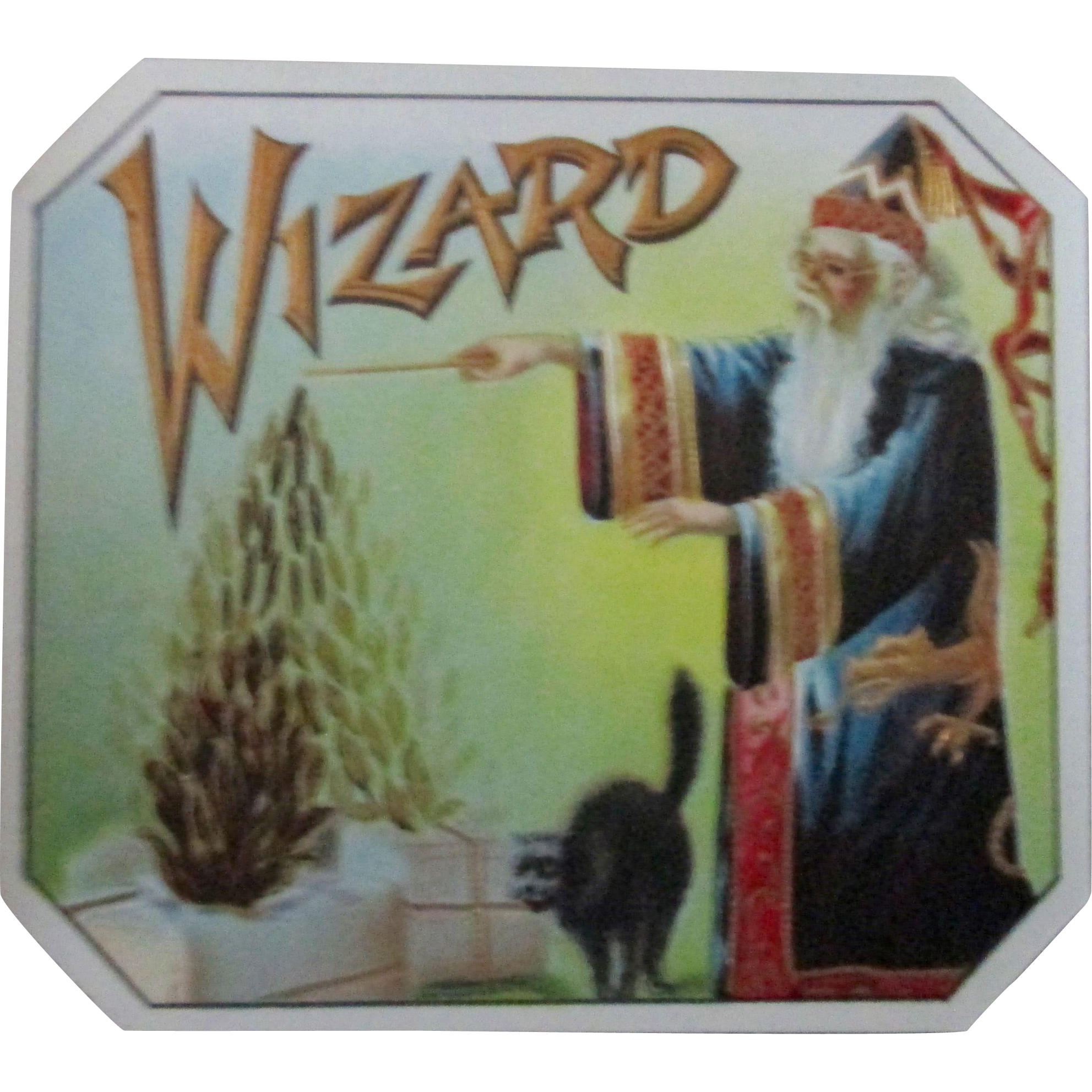 Tobacco embossed WIZARD near mint cigar label early 1900's