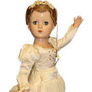 Madame Alexander Hard Plastic Bride Doll With Jewels On Dress