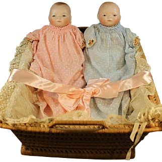 Antique German 'Bye-Lo' Bisque Baby Dolls and Basket