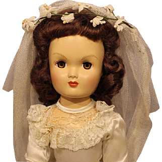 Unmarked Hard Plastic Bride Doll