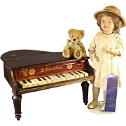 Antique Schoenhut Wood Doll with Teddy Bear & Baby Grand Piano