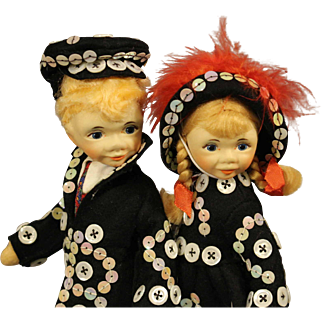 Pair of Old Cottage Dolls - 'Button Pair'