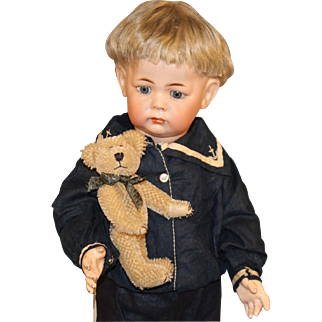 Antique German Bisque Doll with Teddy Bear - K * R #115A