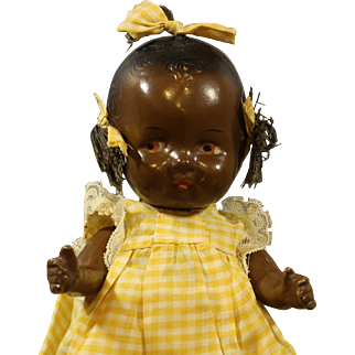 Black Composition Baby Doll with Pigtails