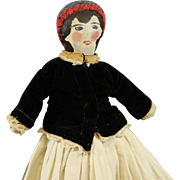 Vintage Home Made Oil Painted Cloth Doll
