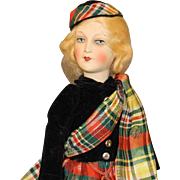 'All Original' Antique German Painted Bisque Doll in 'Scottish' Outfit