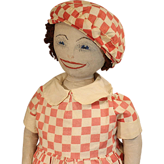 Wonderful Homemade Cloth Doll In Red Check Dress & Cap