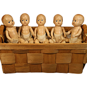 'Dionne Quints'  Like Composition baby Dolls in Basket