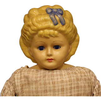 Antique Wax - Over Composition Doll with Ribbon & Bow in Hair