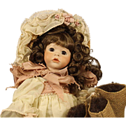 "Wendy Lawton Doll - ""Baa Baa Black Sheep"" - all bisque - 1990"