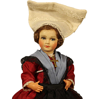 Vintage French Celluloid Doll in Provincial Dress
